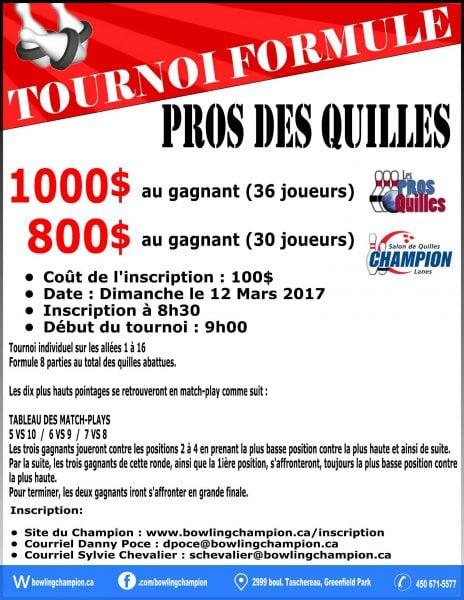 Tournoi Formule Les Pros des Quilles