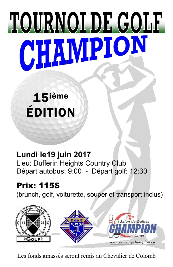 Tournoi de golf CHAMPION @ Dufferin Heights Country Club | Stanstead | Québec | Canada